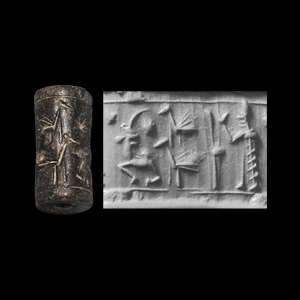 Western Asiatic Cylinder Seal with Man and Bull Staff