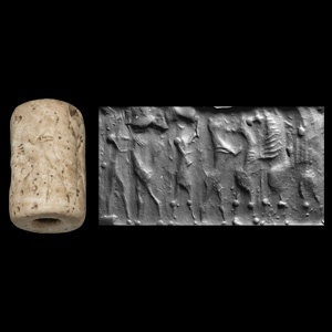 Western Asiatic Agate Cylinder Seal with Contest Scenes