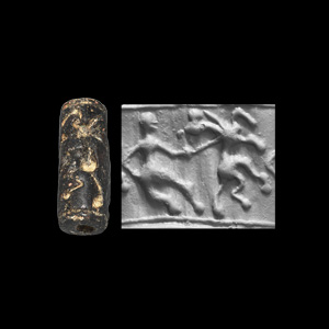 Western Asiatic Cylinder Seal with Hero Lassoing Animal