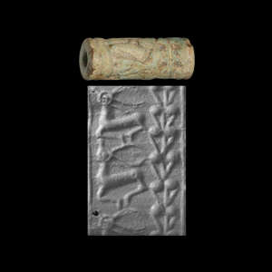 Western Asiatic Mitanni Faience Cylinder Seal with Animals