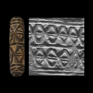 Western Asiatic Cylinder Seal with Geometric Frieze