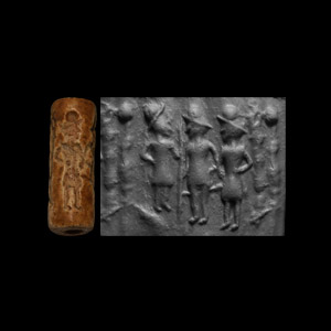 Western Asiatic Cylinder Seal with Standing Figures Holding Staffs