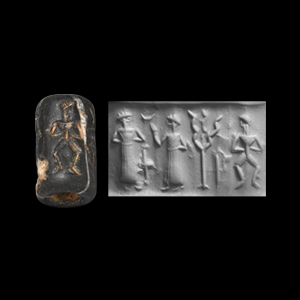 Western Asiatic Old Babylonian Cylinder Seal with Worship Scene and Dancing Man