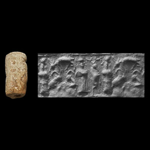 Western Asiatic Mitanni Cylinder Seal with Sphinx