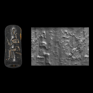Western Asiatic Mesopotamian Cylinder Seal with Figures and Offering Tablet