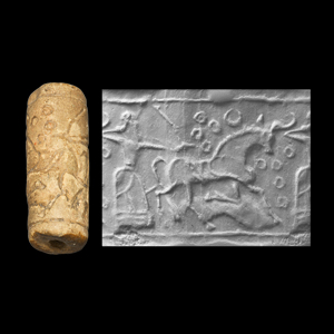 Western Asiatic Mesopotamian Cylinder Seal with Archer and Bull