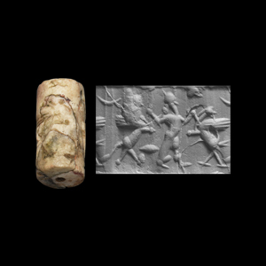 Western Asiatic Neo-Assyrian or Neo-Babylonian Cylinder Seal with God and Monster