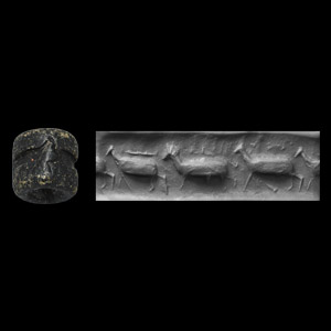 Western Asiatic Jemdet Nasr Type Cylinder Seal with Frieze of Walking Quadrupeds