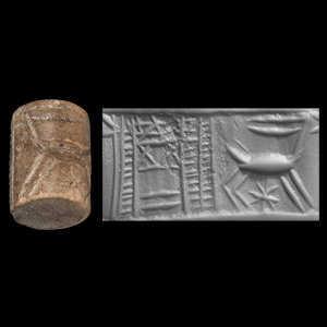 Western Asiatic Sumerian Cylinder Seal with Temple