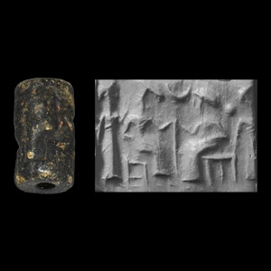 Western Asiatic Cylinder Seal with Robed Figures and Crescent