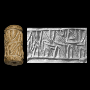 Western Asiatic Mesopotamian Terracotta Cylinder Seal with Linear Pattern