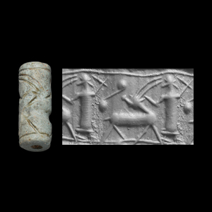 Western Asiatic Mitanni Cylinder Seal with Robed Figures