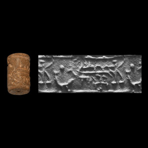 Western Asiatic Terracotta Cylinder Seal with Animals