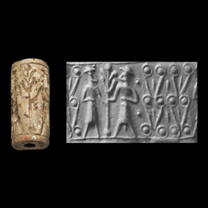 Western Asiatic Mitanni Cylinder Seal with Sacred Tree and Figures