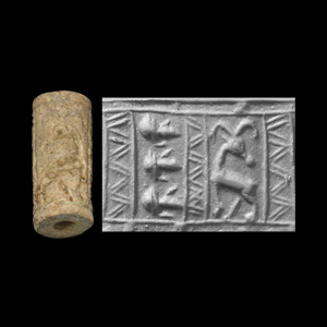 Western Asiatic Faience Cylinder Seal with Human Heads