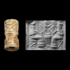 Western Asiatic Fossil Shell Cylinder Seal with Beer Drinkers