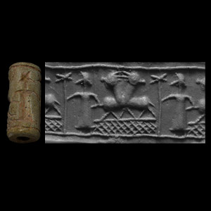 Western Asiatic Mitanni Cylinder Seal with Stars and Animals