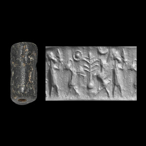 Western Asiatic Mitanni Cylinder Seal with Animals and Sacred Tree