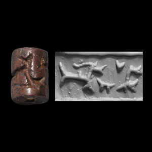 Western Asiatic Bronze Cylinder Seal with Goat-Fish and Fly