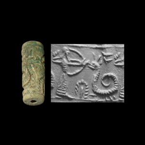 Western Asiatic Mesopotamian Cylinder Seal with Archer Shooting Snake
