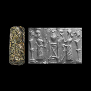 Western Asiatic Neo-Assyrian Cylinder Seal with King and Attendant