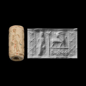Western Asiatic Mitanni Cylinder Seal with Standing Figure
