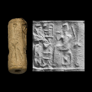 Western Asiatic Elamite Cylinder Seal with Standing Figures and Tree