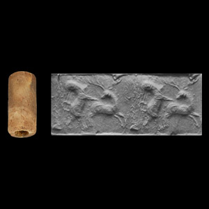 Western Asiatic Achaemenid Cylinder Seal with Fighting Animals