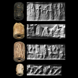 Western Asiatic Cylinder Seal Group Human and Animal Scenes