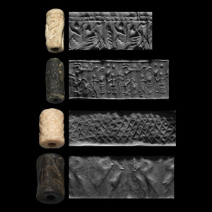 Western Asiatic Cylinder Seal Group with Contest and Seated Figure Scenes