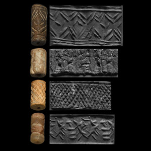 Western Asiatic Cylinder Seal Group with Human, Animal and Geometric Motifs