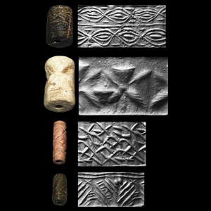 Western Asiatic Cylinder Seal Group with Rarities, Abstract Motifs and Heraldic Eagles