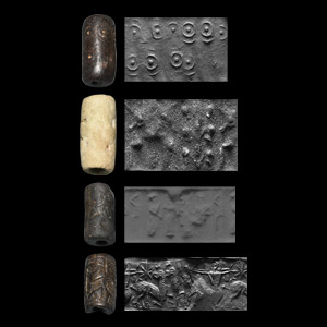 Western Asiatic Cylinder Seal Group with Presentation Scene, Archer and Geometric Motifs