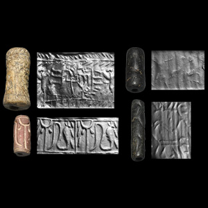 Western Asiatic Cylinder Seal Group with Kneeling Archer, Animals and Human Figures