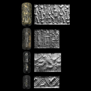 Western Asiatic Cylinder Seal Group with Rarity, Monsters, Quadrupeds and Sitters