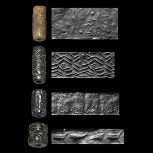 Western Asiatic Cylinder Seal Group with Hero, Archer, Animals and Geometric Designs