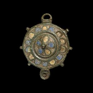 Enamelled Disc Brooch