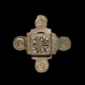 Cross Brooch with Millefiori