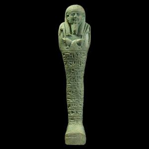Pale Blue Glazed Hieroglyphic Shabti for a Priest
