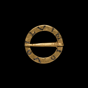 Gold Inscribed Ring Brooch