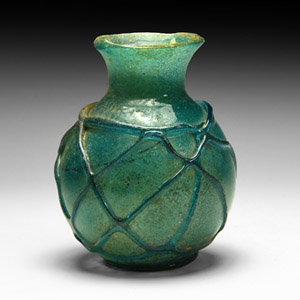 Blue Glass Vessel with Trails