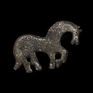 Sassanian Silver Horse Brooch
