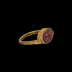 Hellenistic Gold Swivel Ring with Horse Gemstone