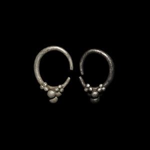 Silver Hoop Earrings with Clusters