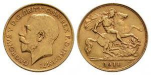 English Milled Coins - George V - 1911 - Gold Half Sovereign