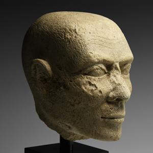 Egyptian Limestone Head of a Priest