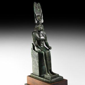 Egyptian Bronze Enthroned Wadjet