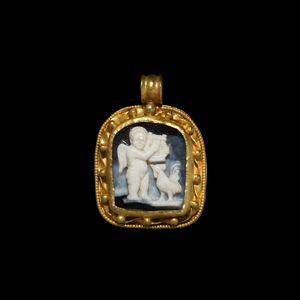 Gold Cameo Pendant with Cupid Playing Lyre