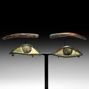 Egyptian Bronze and Glass Mummy Eyes