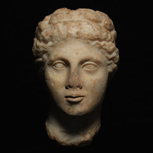 Hellenistic Marble Head of a Nymph, Nereid or Aura